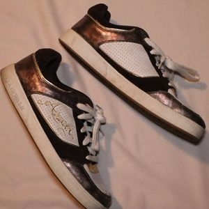 Vintage Airwalk Brown, Gold, and White Skate Shoes